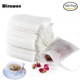 100 unids/lote de bolsas de té desechables bolsa de té perfumada vacía con cuerda de papel de filtro de sello para hierbas té Su