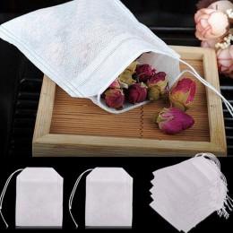 HIFUAR 100 Uds bolsas de té para Infusor de bolsas de té con cuerda Heal Seal 5,5x7 CM bolsita de papel de filtro bolsitas de té