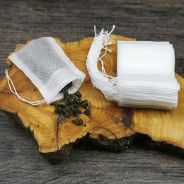 Bolsitas de té 100 unids/lote para hacer té 5,5X7 CM bolsa de filtro de calidad alimentaria para té con cuerda Paquete de sacos