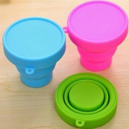 Nuevo portátil de silicona retráctil plegable taza con tapa al aire libre telescópica Copa plegable para beber viaje Camping cop