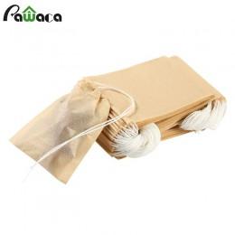 100 unids/lote bolsa de té bolsas de papel de filtro sello térmico infusor colador de té bolsa de té con cordón de madera para h