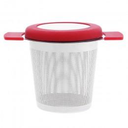 Cesta de infusores de té reutilizable de acero inoxidable colador de té de malla fina con tapa de asas filtros de té y café para