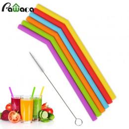6 uds. Juego de pajitas reutilizables de silicona, pajitas largas flexibles con cepillos de limpieza para pajitas de fiesta de b