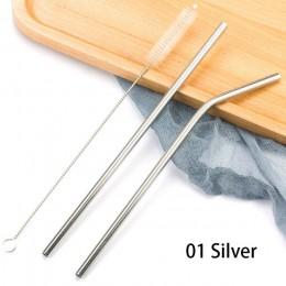 Sorbetes reutilizables coloridos de acero inoxidable 304 paja de beber de Metal curvada recta con kit de limpieza con cepillo ac