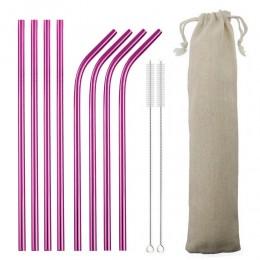 4/8 Uds pajilla de metal Set pajilla reutilizable 304 pajilla de acero inoxidable con pincel paja Rosa ecológica para tazas de 2