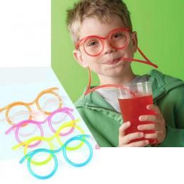 1 Uds., gafas de paja de plástico suave, herramientas de tubo de pajitas de beber flexibles para niños, juguetes novedosos, sumi