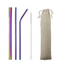 5-piezas 304 pajitas de acero inoxidable de paja de Metal 12mm reutilizable doblada pajilla recta juego de pajitas Rojas Bar acc
