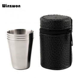4 unids/set pulido 30ML Mini vaso de acero inoxidable con Tapa de cuero para Bar de cocina en casa