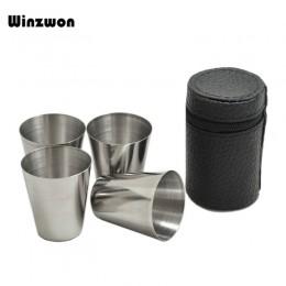 4 unids/set vasos de chupito para beber vino de 30ML de acero inoxidable pulido con Funda de cuero para Barware para Bar de coci