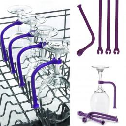 4 Uds. Se ajustan de forma flexible copa de vino de silicona lavavajillas Copa púrpura soporte más seguro Stemware ahorrador 25