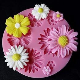 3d moldes de silicona flor Fondant artesanal pastel caramelo Chocolate Sugarcraft hielo, pastel molde de herramienta para hornea