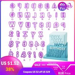 DOZZLOR 40 Uds de alfabeto letra número Fondant pastel galleta molde de hornear galletas y sellos pastel bricolaje alfabeto mold