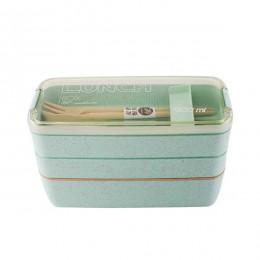 Lonchera de Material saludable de 900ml cajas Bento de 3 capas de paja de trigo, vajilla de microondas, recipiente de almacenami