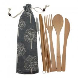 Utensilios de bambú juego de cubiertos de viaje ecológico de madera al aire libre utensilios portátiles cero residuos de bambú j