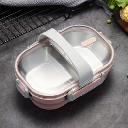 Caja de almuerzo portátil japonesa para niños escuela 304 de acero inoxidable Bento cocina contenedor de comida a prueba de fuga