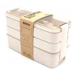 Lonchera de Material saludable portátil de 900ml cajas Bento de paja de trigo de 3 capas vajilla de microondas contenedor de alm