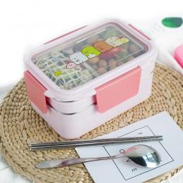 TUUTH caja de almuerzo de dibujos animados de acero inoxidable de doble capa contenedor de alimentos portátil para niños Picnic