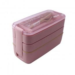 Caja Bento de 3 capas de 900 ml, caja de almuerzo ecológica, recipiente de alimentos, material de paja de trigo, caja de almuerz