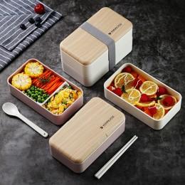TUUTH microondas doble capa lonchera 1200ml de madera sensación ensalada Bento caja BPA libre Portable Container Box trabajadore