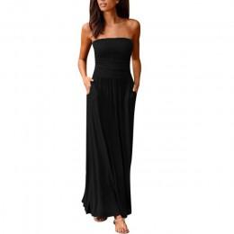 Maxi vestido 2019Top mujeres Bandeau vacaciones fuera del hombro vestido largo señoras verano sólido vestido de verano Vestidos