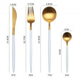 Cubiertos de oro 18/10 cubertería de acero inoxidable palillos cuchillo de mantequilla postre cuchara para cenas de la horquilla