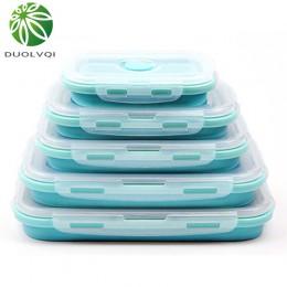 Duolvqi 3/4 Uds juego de lonchera plegable de silicona para alimentos caja de almacenamiento de ensalada de frutas caja contened