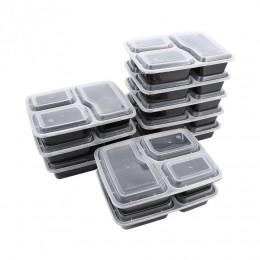 10 Uds. De plástico reutilizable Bento caja de almacenamiento de comida preparación de alimentos caja de almuerzo 3 compartiment