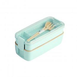 750ml Material saludable 2 capas lonchera paja de trigo Bento cajas microondas vajilla contenedor de almacenamiento de alimentos