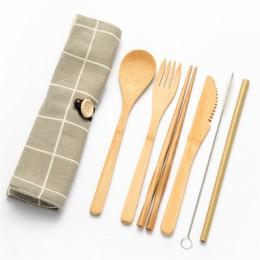 Vajilla juego de cubiertos de bambú juego de paja de madera con bolsa de tela de viaje cuchara de madera tenedor cuchillo juego