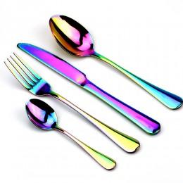 Creativo Acero inoxidable cubiertos de colores vivos Set arcoíris cena Set viaje Tenedor de mesa cuchillo para boda y Hotel 1 Ud
