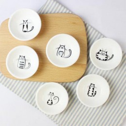 6 uds. Lindo gato Mini tamaño pigmentos cerámica plato de soja salsa vinagre mermelada platos cocina plato pequeño vajilla noved