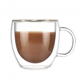 Tazas de café dobles con el mango tazas para bebidas aislamiento doble pared de vidrio taza de té creativo regalo taza para la l