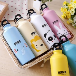 Niños regalo botella de agua portátil lindo Animal patrón botella taza al aire libre deporte senderismo escalando botella de beb