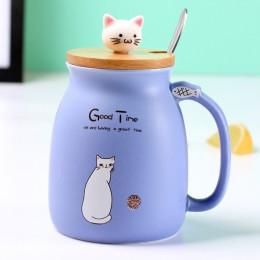 Creativo color gato resistente al calor taza de dibujos animados con tapa 450ml taza gatito café tazas de cerámica niños taza de