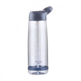Botellas de agua deportivas de paja de gran capacidad con mango BPA botella de viaje de plástico saludable portátil al aire libr