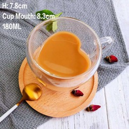 Tazas de café/té de vidrio de doble pared resistentes al calor y tazas de viaje tazas de café dobles con el mango tazas para beb