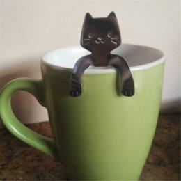 Cuchara con forma de gato cucharas de mango largo cubiertos de café herramientas de acero inoxidable para beber tazas accesorios