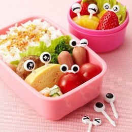 10 unids/lote hermoso palillos para fruta de plástico hermoso Ojo de dibujos animados tenedores Bento decorativo vajilla Picks p
