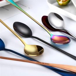 Cuchara colorida de acero inoxidable 410 cucharas de mango largo cubiertos utensilios para beber café Gadget de cocina Envío Dir
