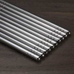 VandHome 5 par/set palillos chinos de Metal antideslizantes de acero inoxidable conjunto de palillos reutilizables para comida S