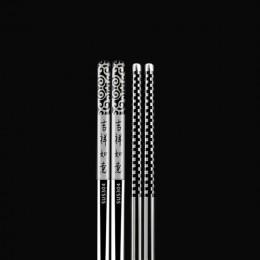 Palillo chino de la buena suerte palillo chino feliz reunión Chop Sticks láser antideslizante hueco 304 de acero inoxidable vaji