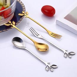 Cuchara de acero inoxidable creativa rama cucharas de hojas/tenedor café agitador cuchara regalo de Navidad accesorios de cocina
