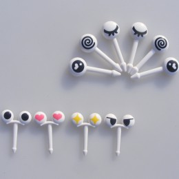 Sdr 10 unids/lote palillos para fruta de plástico bonitos ojos de dibujos animados tenedores Bento vajilla decorativa selección
