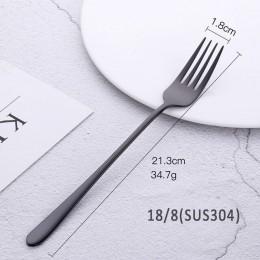 Tenedor de acero inoxidable 18/8 Corea Tenedor de postre colorido mango largo oro azul tenedor negro para fiesta de Hotel Envío
