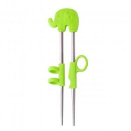 2 pares de palillos chinos para niños, bebé, acero inoxidable, dibujos animados, aprendizaje, reutilizable, entrenamiento, palil