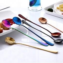 2019 nuevo cabezal redondo mango largo cuchara de colores cucharas de mango largo cubiertos utensilios para beber café utensilio