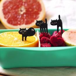 Gran oferta 6 unids/set 6 unids/set Black Cat Fruit Forks snacks postres tenedores selección de alimentos Bento accesorios utens