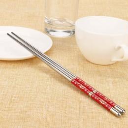 Palillos chinos naturales japoneses Conjunto 1 par de longitud patrón de flores blancas de acero inoxidable par de palillos nuev