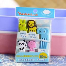 10 unids/pack granja Animal de la fruta tenedor Mini niños de dibujos animados de postre de pastel de merienda a palillo Bento a