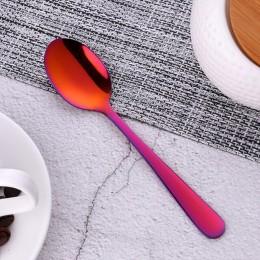 1 Uds. Mini cuchara de té juego de cubiertos de acero inoxidable única cuchara de postre de arco iris cucharas de té de oro cuch